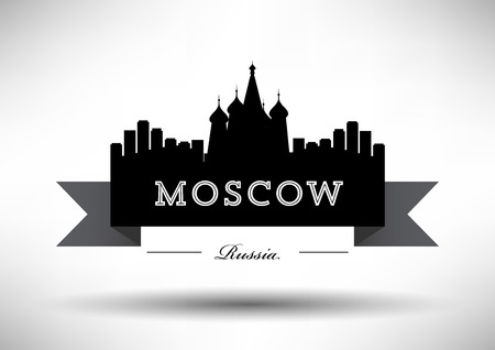 dome type: Moscow Skyline with Typography Design Illustration