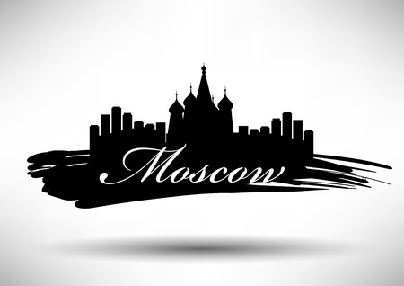 st petersburg: Moscow Skyline with Typography Design Illustration