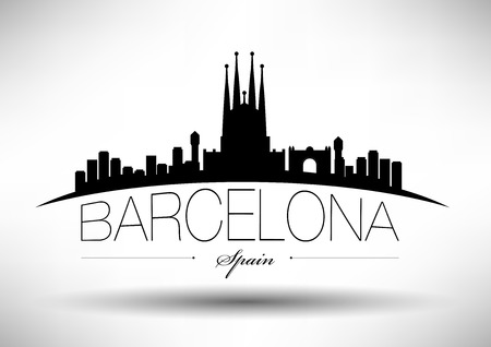 Barcelona Skyline with Typography Design