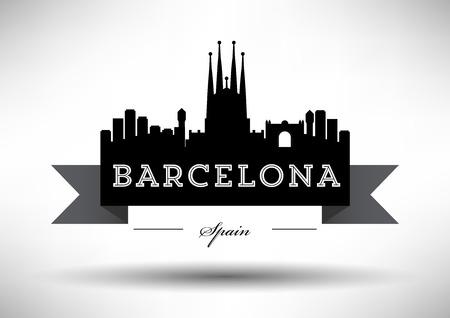 barcelona: Barcelona Skyline with Typography Design