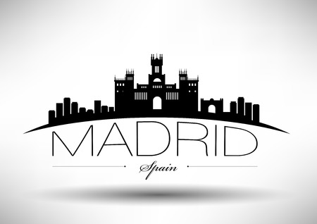 city skyline night: Madrid Skyline with Typography Design