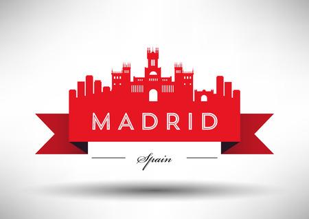 マドリードのスカイラインのタイポグラフィ デザイン