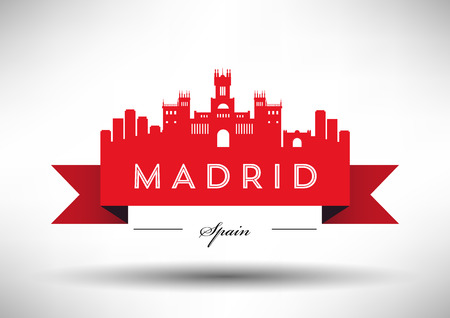 Typography 디자인 마드리드 스카이 라인 일러스트