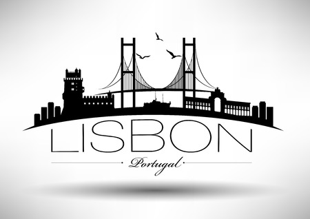 Lisbon Skyline with Typography Design Illustration