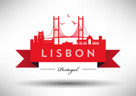 タイポグラフィ デザインとリスボンのスカイライン  イラスト・ベクター素材