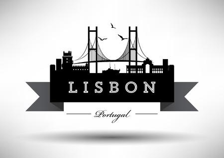 Lisbon Skyline with Typography Design  イラスト・ベクター素材