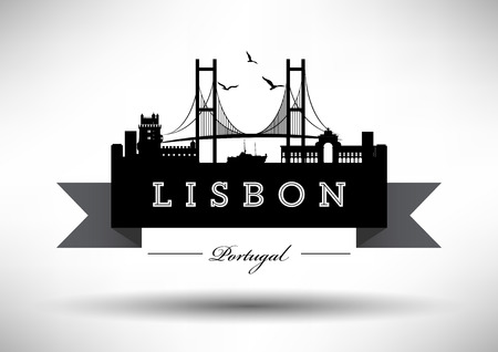 Lisbon Skyline with Typography Design Vettoriali