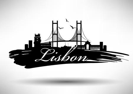 belem: Lisbon Skyline with Typography Design Illustration