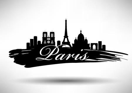 paris skyline: Paris Skyline with Typography Design