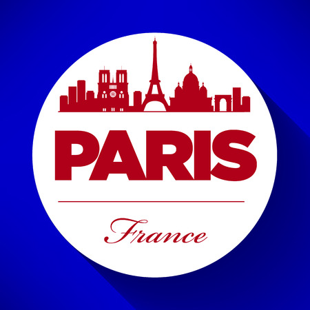 Paris Skyline with Typography Design Vector