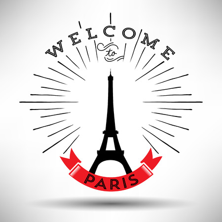 Paris with Typography Design Vector