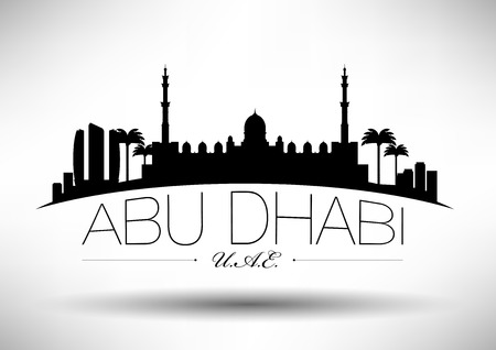 Abu Dhabi Skyline with Typograpy Design  Illustration