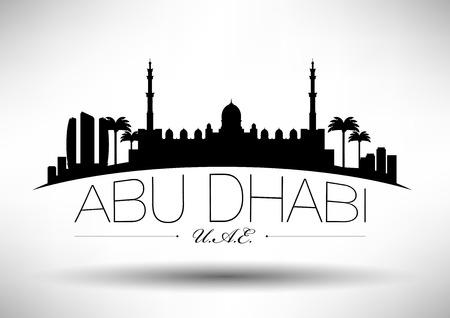 Abu Dhabi Skyline with Typograpy Design  Illustration
