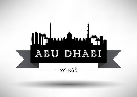 dome type: Abu Dhabi Skyline with Typograpy Design  Illustration
