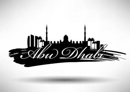 dome type: Abu Dhabi Skyline with Typograpy Design  Illustration