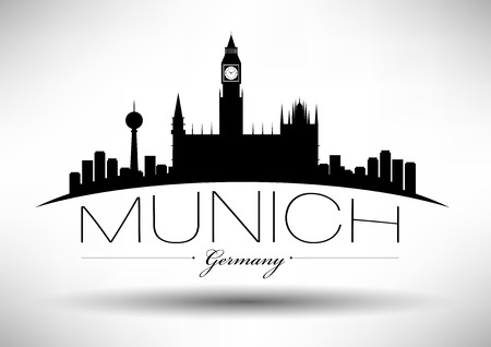 Munich Skyline with Typography Design Çizim