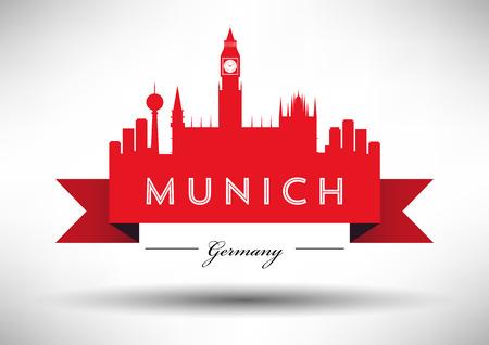 m�nchen: München Skyline met Ontwerp van de Typografie