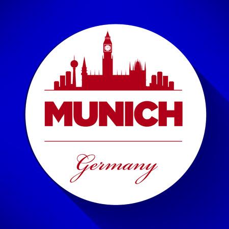munich: Munich Skyline with Typography Design Illustration