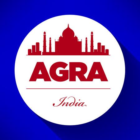 agra: Agra Skyline with Typography Design Illustration