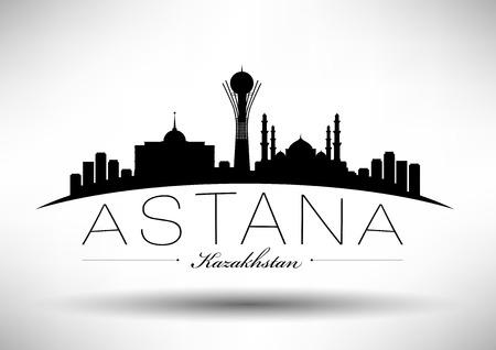Astana Skyline con Typography design Archivio Fotografico - 30411974