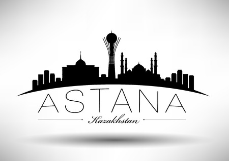 Astana Skyline with Typography Design