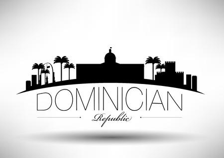 Dominician Republic Skyline with Typography Design Vector