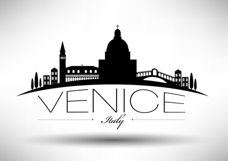 Venice Skyline with Typography Design