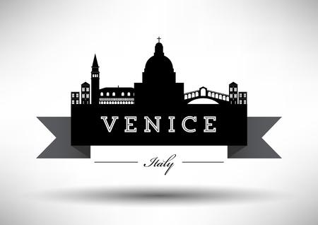 Venice Skyline with Typography Design Stock fotó - 30412043