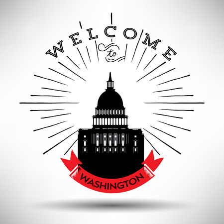 Washington with Typography Design Illusztráció