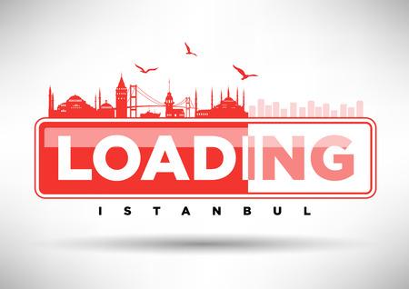 web design bridge: Istanbul Skyline Loading Typographic Design Illustration