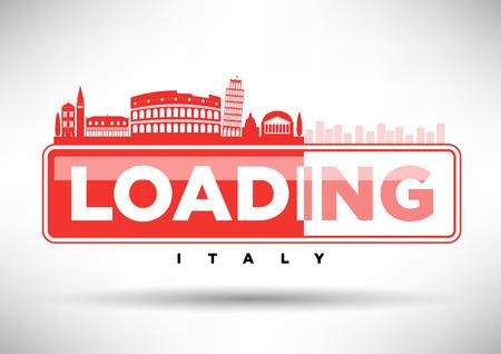 Italy Skyline Loading Typographic Design Vector
