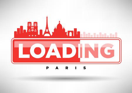 paris skyline: Paris Skyline Loading Typographic Design Illustration