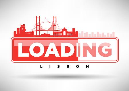 web design bridge: Lisbon Skyline Loading Typographic Design Illustration