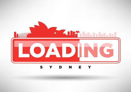 web design bridge: Sydney Skyline Loading Typographic Design Illustration