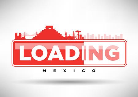 angel de la independencia: México Skyline Cargando tipográfico Diseño