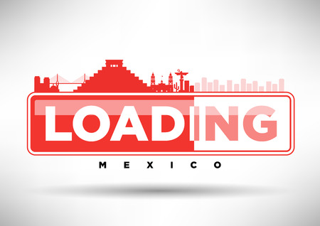 web design bridge: Mexico Skyline Loading Typographic Design