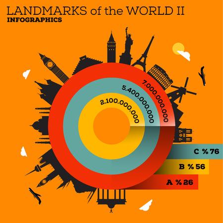 Landmarks of the World Infograpghic Design Vector