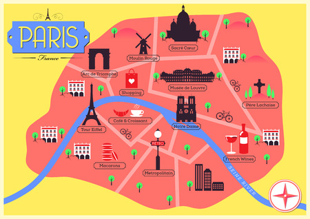 notre dame de paris: City Map of Paris, France