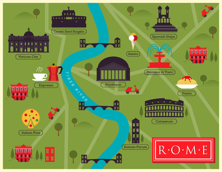 pizza maker: City Map of Rome, Italy