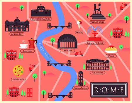 rome italie: Plan de la ville de Rome, Italie