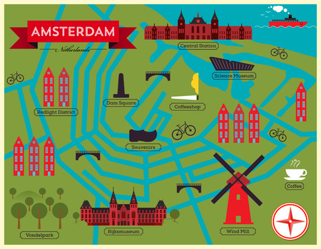 amsterdam canal: City Map of Amsterdam  Netherlands Illustration
