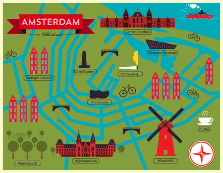 City Map of Amsterdam  Netherlands 向量圖像