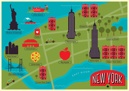 City Map of New York City, United States