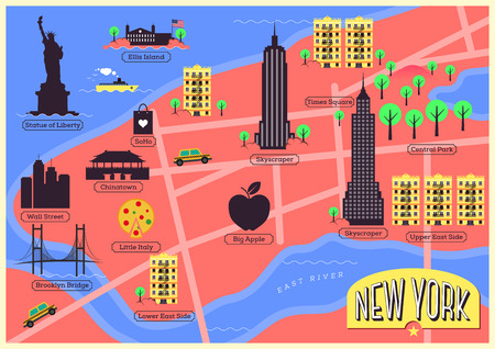 City Map of New York City, United States Vector