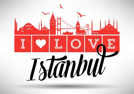 I Love Istanbul Skyline Design Vector