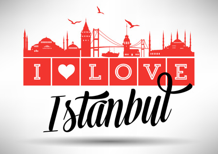 turkey istanbul: I Love Istanbul Skyline Design