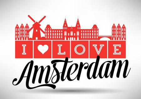 I Love Amsterdam Skyline Design Vector