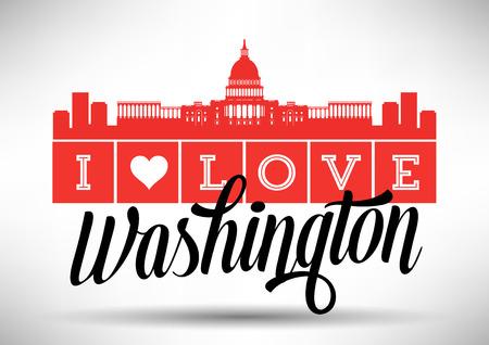 I Love Washington Skyline Design Vector