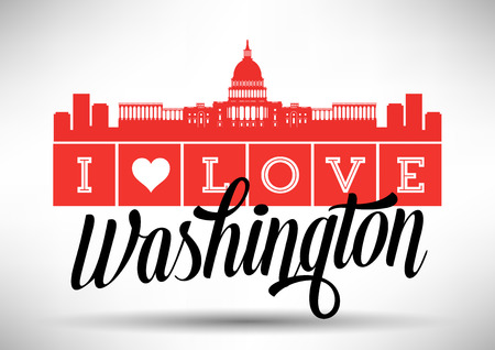 I Love Washington Skyline Design Stock fotó - 31728696