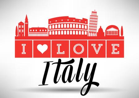 I Love Italy Skyline Design Vector